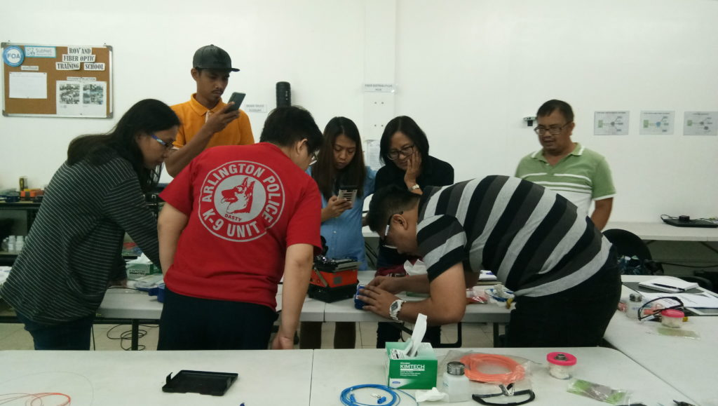 Subnet Services fiber optics training instructor with students