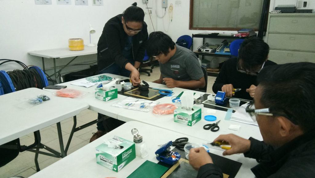 Subnet Services fiber optics training instructor assisting students